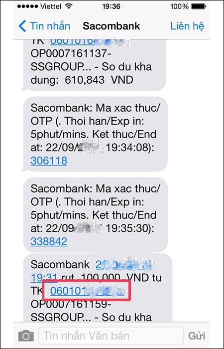 Kiểm tra số tài khoản Sacombank qua SMS