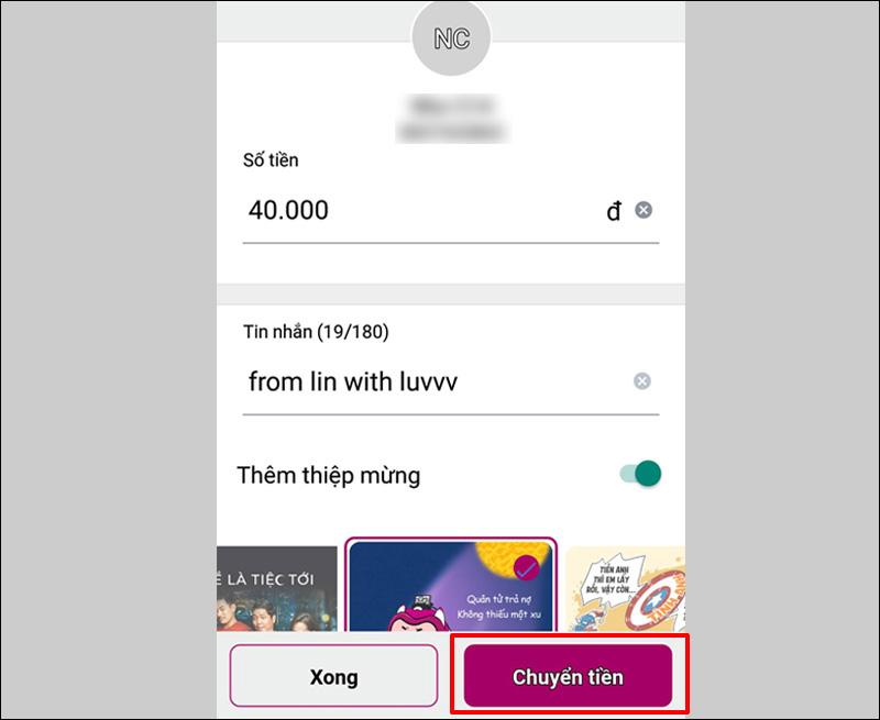 Chuyển tiền trên Ví Momo