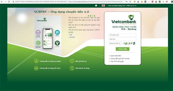 dang nhap internet banking vietcombank