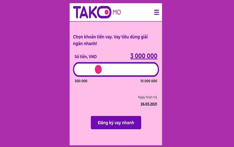 Cách vay tiền Takomo