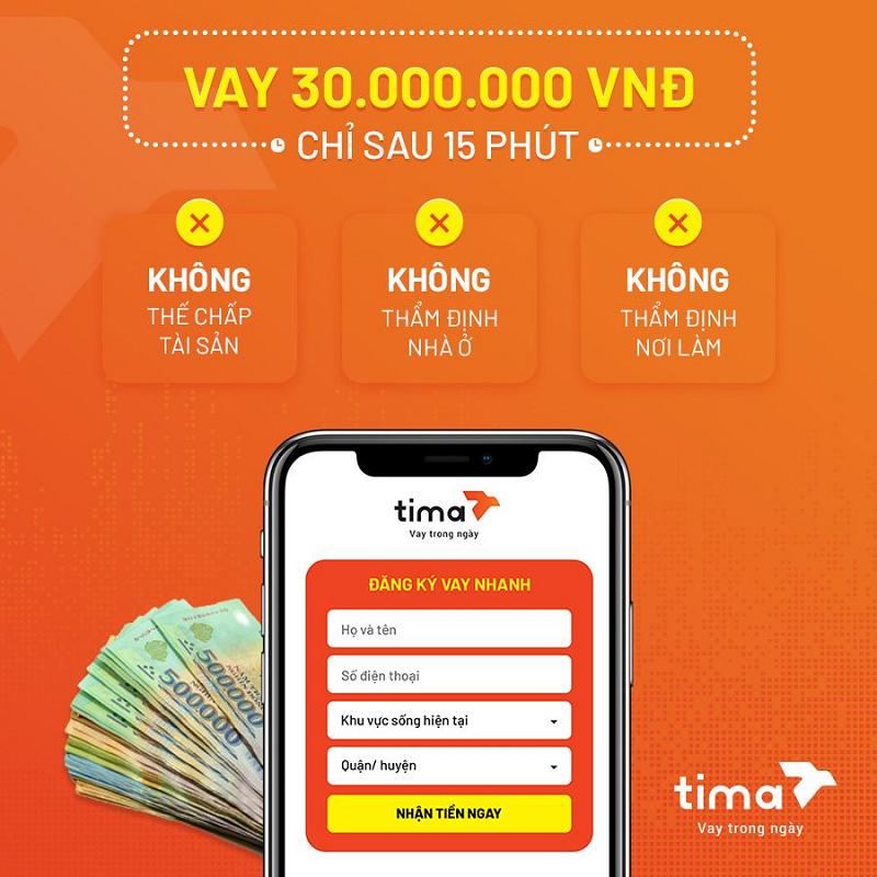 Dễ dàng đăng ký vay qua App Tima