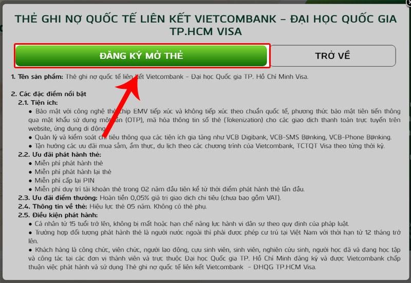 Cách mở thẻ Visa Vietcombank online