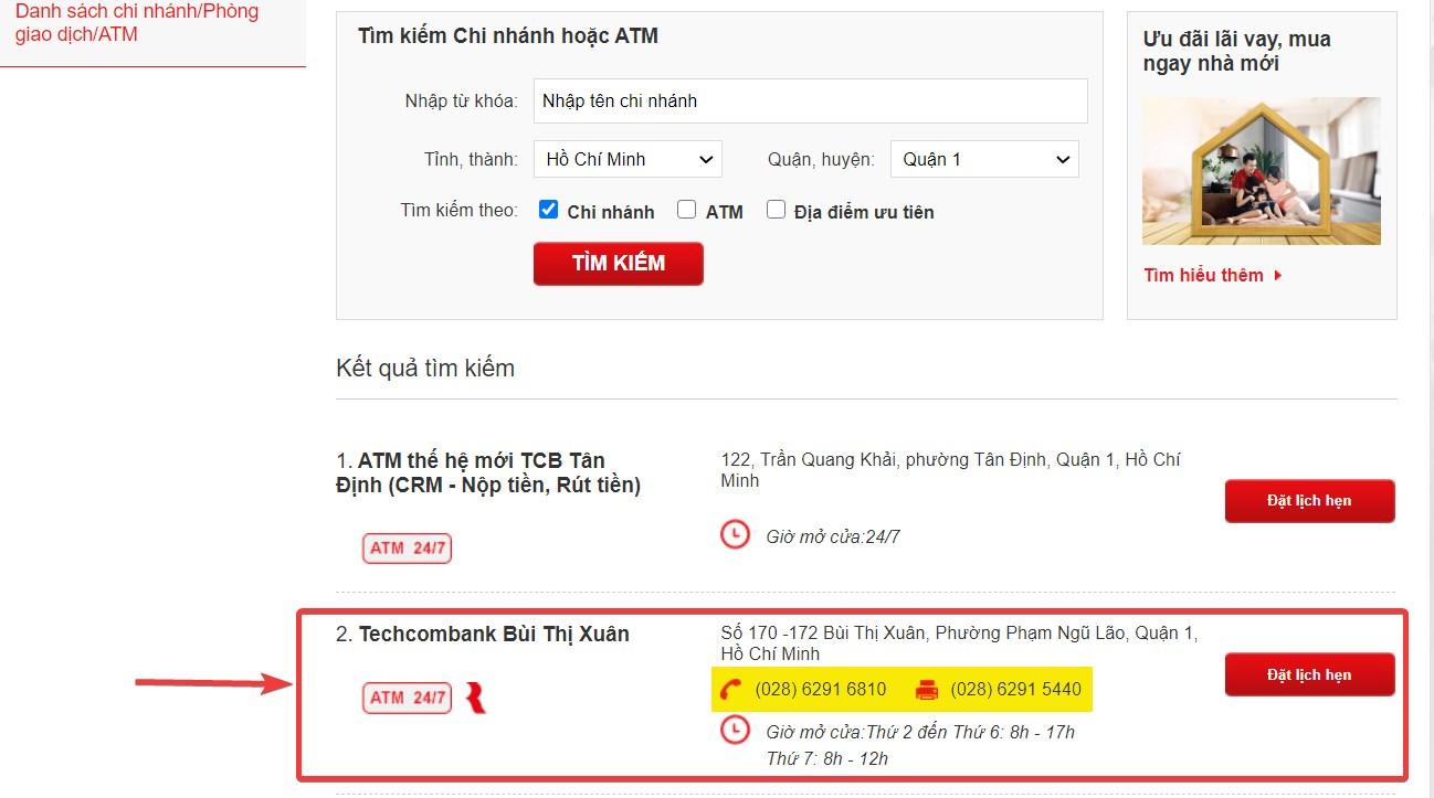 Tra cứu số điện thoại Techcombank