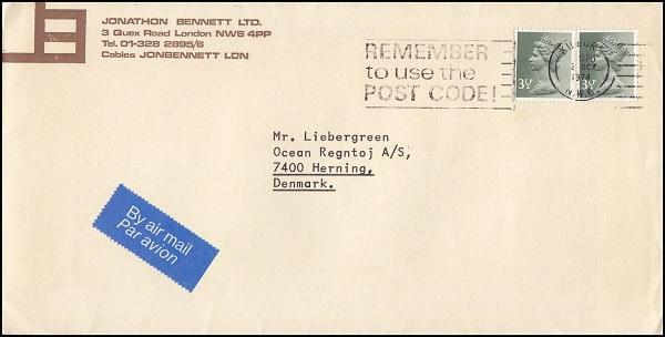 Bao thư nước ngoài có mã bưu chính
