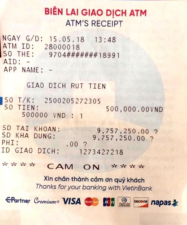 Trên biên lai rút tiền sẽ có sẵn số dư khả dụng của bạn